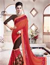 image of Striking Orange Color Party Wear Embroidered Saree In Georgette Fabric