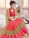 photo of Sparkling Beige And Pink Color Designer Saree With Unstitched Banglori Blouse