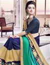 photo of Lovely Green And Blue Color Festive Wear Designer Saree With Unstitched Banglori Blouse