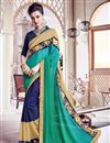 image of Lovely Green And Blue Color Festive Wear Designer Saree With Unstitched Banglori Blouse