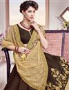 photo of Designer Embroidered Georgette Saree In Stunning Beige And Brown Color