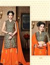 photo of Designer Banarasi Silk Sharara Top Lehenga In Marvelous Orange Color With Embroidery