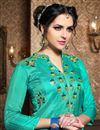 photo of Party Wear Alluring Blue Color Sharara Top Lehenga In Embroidered Santoon Fabric