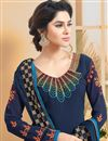 picture of Designer Festive Wear Embroidered Suit In Blue Color