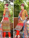 photo of Orange Color Party Wear Cotton Salwar Kameez With Print Work