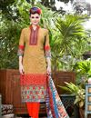 image of Orange Color Party Wear Cotton Salwar Kameez With Print Work