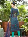 photo of Blue Color Party Wear Cotton Salwar Kameez With Print Work