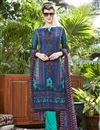 image of Blue Color Party Wear Cotton Salwar Kameez With Print Work