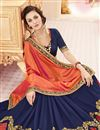 photo of Ready To Ship Silk Festive Wear Orange And Blue Color Designer Saree With Unstitched Banglori Blouse