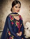photo of Designer Blue Color Party Wear Embroidered Straight Cut Salwar Kameez