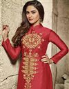 photo of Red Color Embroidered Straight Cut Designer Salwar Kameez In Cotton Fabric
