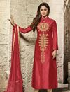 image of Red Color Embroidered Straight Cut Designer Salwar Kameez In Cotton Fabric