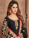 photo of Black Color Embroidered Designer Wear 3 Piece Straight Cut Salwar Suit In Georgette Fabric