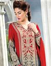 photo of Grey And Red Color Embroidered Palazzo Suit