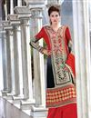 image of Grey And Red Color Embroidered Palazzo Suit