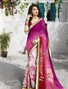 image of Attractive Off White-Pink Designer Saree-201