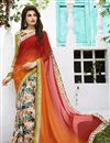 image of Breathtaking Orange-Beige Georgette Party Sari-207