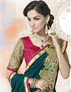 photo of Teal Designer Party Wear Georgette-Jacquard Saree