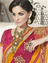 photo of Pink-Orange Designer Saree with Raw Silk Blouse