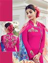 photo of Dazzling Pink Color Cotton-Satin Embroidered Suit