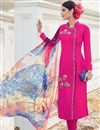 image of Dazzling Pink Color Cotton-Satin Embroidered Suit