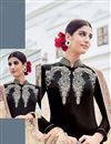 photo of Enigmatic Black Color Cotton-Satin Palazzo Suit