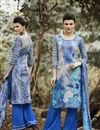 image of Spectacular Grey-Blue Designer Palazzo Suit