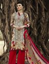 image of Beige-Red Color Fabulous Designer Palazzo Suit