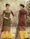 image of Mehendi Green Color Cotton Riveting Palazzo Suit