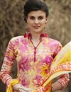 photo of Yellow-Pink Color Cotton Palazzo Suit