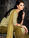 photo of Cream-Mehendi Green Party Wear Cotton Salwar Suit