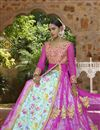 photo of Pink-Sky Blue Color Wedding Wear Designer Satin Embroidered Lehenga Choli