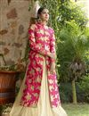 image of Pink-Beige Color Wedding Wear Designer Lycra Embroidered Lehenga Choli