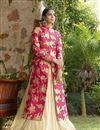 image of Pink-Beige Color Embroidered Lycra Designer Lehenga Choli for Wedding
