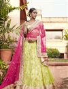 image of Wedding Wear Embroidered Green-Pink Color Designer Net Lehenga Choli