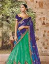 image of Green-Blue Color Festive Wear Embroidered Net Lehenga Choli