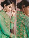 photo of Satin Fabric Embroidered Lehenga Choli in Green Color