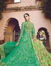 image of Satin Fabric Embroidered Lehenga Choli in Green Color