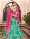 image of Net Fabric Wedding Wear Designer Cyan-Pink Color Lehenga Choli
