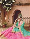 photo of Wedding Wear Designer Net Lehenga Choli in Pink-Sky Blue Color
