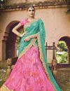 image of Wedding Wear Designer Net Lehenga Choli in Pink-Sky Blue Color