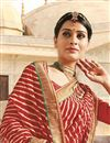 photo of Designer Cream-Maroon Color Georgette Bandhani Print Saree