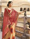 image of Designer Cream-Maroon Color Georgette Bandhani Print Saree