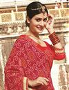 photo of Pink-Red Color Bandhani Print Designer Georgette Saree