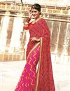 image of Pink-Red Color Bandhani Print Designer Georgette Saree