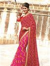 image of Pink-Red Color Bandhani Print Designer Georgette Saree