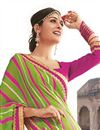 photo of Pink-Green Color Designer Bandhani Print Georgette Saree
