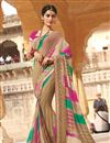 image of Designer Party Wear Georgette Bandhej Saree in Beige Color