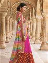 image of Designer Pink Color Georgette Bandhani Print Saree