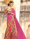 photo of Beige-Pink Color Bandhani Print Designer Georgette Saree
